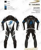 "L�derdragt ""GIXXER"" HAYABUSA K8-Black/White/Nickel/Eblue-TI"