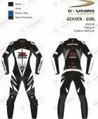 "L�derdragt ""GIXXER-GIRL"" GSXR-Black/White/Eblue-TI"