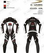 "L�derdragt ""GIXXER-GIRL"" GSXR-Black/White/Red-TI"