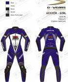 "L�derdragt ""GIXXER-GIRL"" GSXR-Blue/White/Black-TI"
